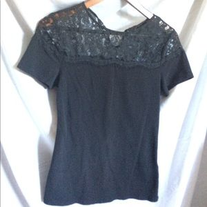Tops - H&M black short sleeve shirt with lace